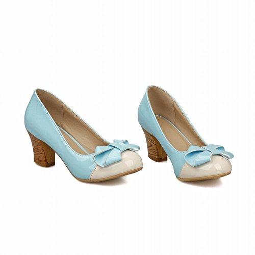 Mee Shoes Damen modern bequem süß Lackleder mit Schleife Geschlossen runder toe Pumps mit hohen Absätzen Blau