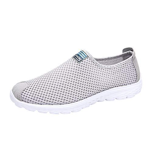 VJGOAL Damen Turnschuhe Sommer Laufschuhe Beiläufig Mesh Atmungsaktiv Leichte Schuhe Sport Running Shoes for Women(Grau,37)
