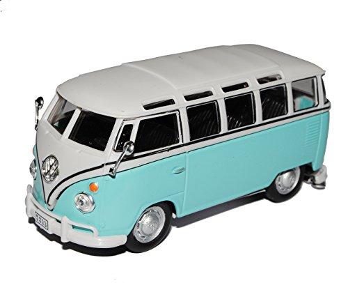 VW Volkswagen T1 Transporter PeRSonen Bully Blau Weiss 1/43 Cararama Modell Auto mit individiuellem Wunschkennzeichen
