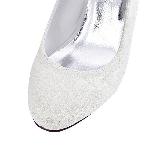 Bout Toe Mariage de Talon ElegantPark Chaussures Mid Pompes Mary Femmes Fermé Jane Soirée Ivoire Lace wt55Cpxqa