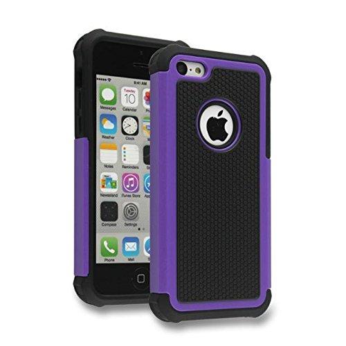 iPhone 5C Case,Lantier Hybrid Dual Layer antichoc Armure Defender Housse de protection (en plastique dur avec Soft Silicon intérieure) pour Apple iPhone 5C Noir Purple