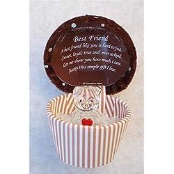 onlinestreet Caja de Regalo de Oso de Peluche de Cristal Estilo Cupcake para el Mejor Amigo con Poema de Regalo para el día del Padre en el Interior de la Tapa.
