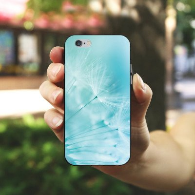 Apple iPhone 6 Tasche Hülle Flip Case Pusteblume Blau Blume Silikon Case schwarz / weiß
