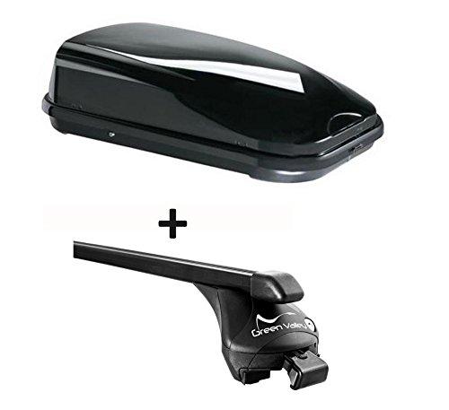 Dachbox schwarz VDP JUFL320 Stabiler Auto Dachkoffer 320 Liter abschließbar + Relingträger Dachgepäckträger für aufliegende Reling im Set für Opel Astra JSW 2010 bis 2015 bis 100kg