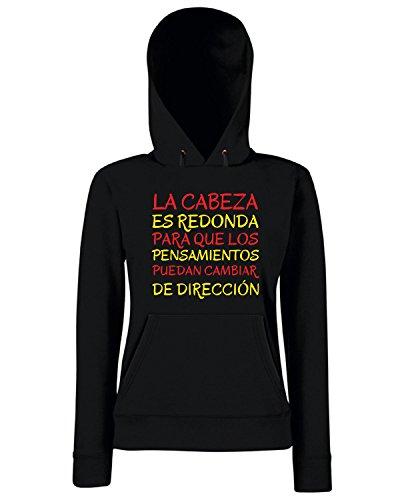 T-Shirtshock - Sweats a capuche Femme CIT0137 La Cabeza es redonda para que los Pensamientos puedan cambiar de direccion Noir