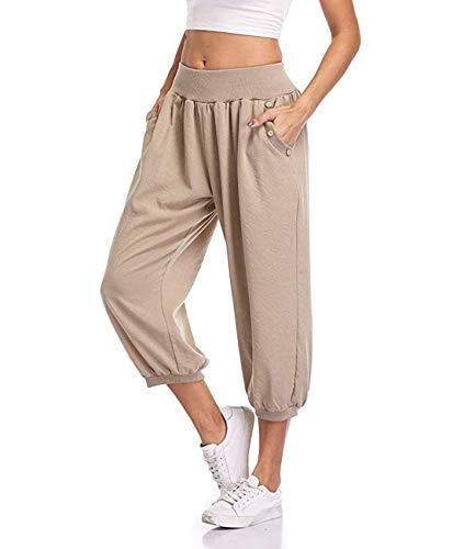 Dilgul Damen 3/4 Hose Sommer Casual Yoga Capris Crop Hose Elastische Taille mit Knopf Baggy Weite Hose Capri Crop Hose
