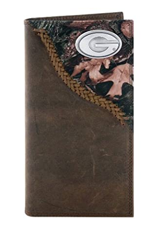 NCAA Georgia Bulldogs Camouflage Leather Roper Concho Wallet, One Size by ZEP-PRO