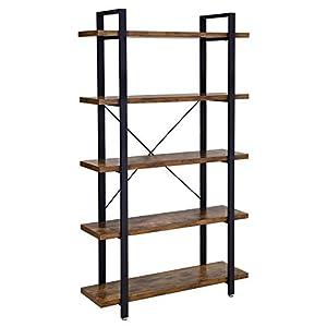 VASAGLE Bücherregal, stabiles Standregal mit 5 Regalebenen, Wohnzimmerregal im Industrie-Design, einfacher Aufbau, Wohnzimmer, Schlafzimmer, Büro, Vintage LLS55BX