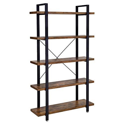 VASAGLE Bücherregal, stabiles Standregal mit 5 Regalebenen, Wohnzimmerregal im Industrie-Design, einfacher Aufbau, Wohnzimmer, Schlafzimmer, Büro, Vintage LLS55BX -