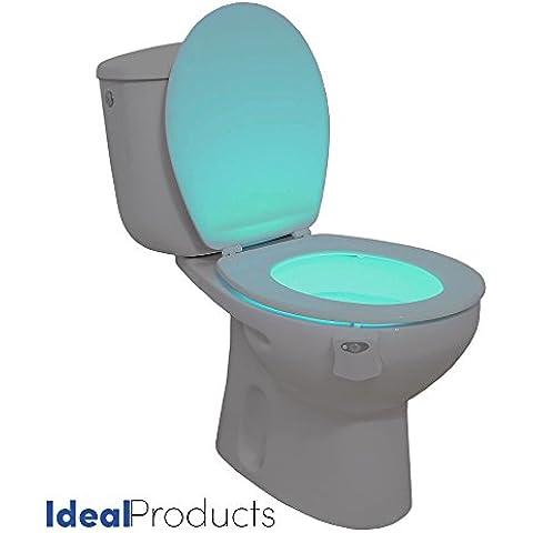 Ideal Product Luz de WC Adaptable a cualquier modelo de inodoro Activado con Sensor de Movimiento y 8 COLORES distintos a elegir con un simple botón - Embellece el inodoro acomodándolo al ideal de Decoración - Evitando luces deslumbrantes por la noche, y previendo