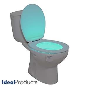 Ideal Products Luce per il WC Adattabile a qualsiasi modello di water Attivato con un Sensore del Movimento in 8 diversi COLORI che si possono schegliere con un semplice bottone – Abbellisce il water adattandolo in base a la Decorazione – Evitando luci abbaglianti nella notte, e previene accidenti.