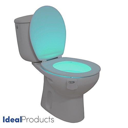 Ideal Products Licht für das WC für jeden Typ von Water aktiviert mit einem Sensor der Bewegung in 8verschiedenen Farben können sich schegliere mit einem einfach Knopf–verschönert die Water Testmusters in Base für die Dekoration–ohne Lichter Fernlicht in der Nacht, und verhindert Oh Schreck.