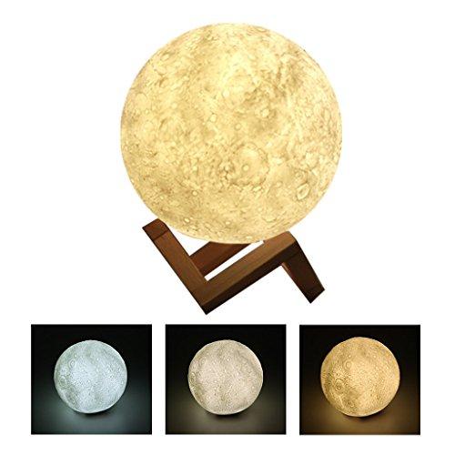 3D Druck Mond Lampe, Jarvan USB Wiederaufladbare 3 Farbwechsel Touch-Schalter Wohnkultur Geschenk Schlafzimmer Nachtlicht (13CM)