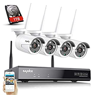 SANNCE Wireless Security System 8CH 1080P CCTV NVR and 4X 1.3MP Outdoor WiFi Surveillance IP Cameras with Auto-Pair, Intelligent Day Night Vision, Sanpshot Motion Detection &APP Push(1TB Hard Drive)
