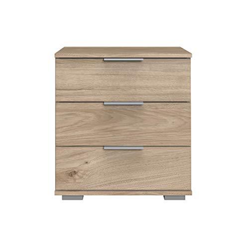 Wimex Nachttisch NIGO Hickory-Oak für Boxspringbett geeignet (Höhe 58 cm), Nachtkommode, Holz (MDF), BxHxT: 52 x 58 x 38 cm, 3 Schubladen, Made in Germany, 1 Stück - Hickory-schlafzimmer-möbel
