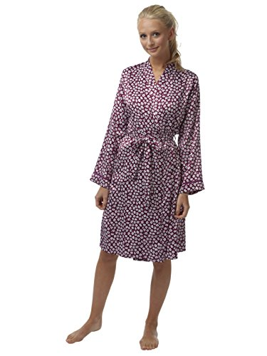 Ladies Touch soie Kimono Satin Robe Petit Fleur Print Faggotting garniture taille 36 à 48 Prune