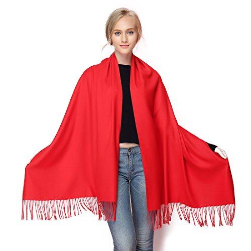 chmir Poncho Cape Überwurf Damen Schal für Winter Herbst Oversize 190x70cm rot-1 (Rot-poncho)