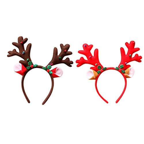 Minkissy Weihnachtsgeweihstirnbandrenhaarbandrotwildhaarzusatz Cosplay Headwear für Feiertagsweihnachtsparteibevorzugung scherzt Geschenk 2pcs