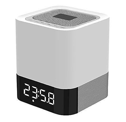 Haut-parleur Bluetooth, Haut-parleur Portable sans Fil Bluetooth 4.0 avec LED Lampe de Table/ Lumière de Nuit, Smart Touch LED Lampe d'Humeur, Bluetooth Radio-réveil, Carte TF / AUX Supporté, Idéal pour