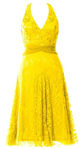 MACloth Women Halter Beaded Lace Short Formal Cocktail Party Dress Evening Gown Gelb