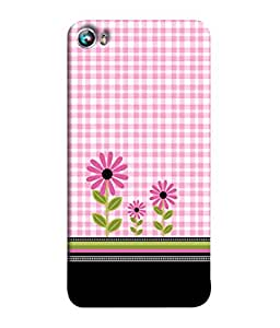 PrintVisa Designer Back Case Cover for Micromax Canvas Fire 4 A107 (checked pink white base flowers)