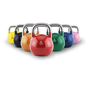 Capital Sports Compket Set Competition Kettlebell 7x Wettkampf-Kugelhantel Gewicht Handgewicht Stahl 8 kg, 12kg, 16 kg, 20 kg, 24 kg, 28 kg, 32 kg ( Farbe und Größe entsprechend Wettkampfnormen, geglätteter Hantelgriff für gute Schwungfähigkeit )
