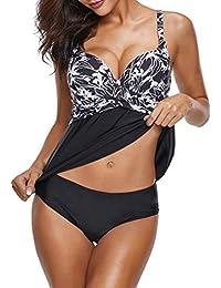 ba2be0adc3e02 Leslady Maillots de Bain Femme Tankini Jupette Imprimé Push-up Rembourré  Grande Taille Beachwear Bicolore