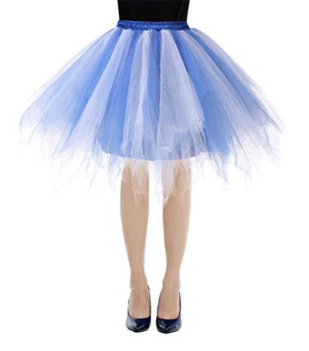 bbonlinedress Kurz Retro Petticoat Rock Ballett Blase 50er Tutu Unterrock Royalblue-White XL