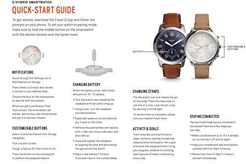 Fossil Herren Hybrid Smartwatch Q Nate – Edelstahl – Schwarz / Analoge Männeruhr im sportlichen Military-Design mit Smartfunktionen / Für Android & iOS - 5
