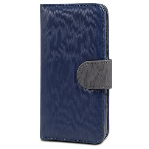 GreatShield LOLLY Toothpick Grain Pattern Wallet Stand Leather Case w/ Card Pockets for iPhone 5/5s/SE - Navy/Gray