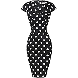 GRACE KARIN - Vestido lápiz Mujer Moulante Vintage Rockabilly Pin Up Años 50 mancheron Derecha Negro M