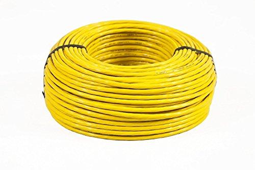 BIGtec 100m CAT.7 Verlegekabel Netzwerkkabel gelb Gigabit LAN DSL Kabel Installationskabel Datenkabel doppelt geschirmt halogenfrei 10Gbit CAT 7 1000Mhz CAT7 PIMF 4x2xAWG23