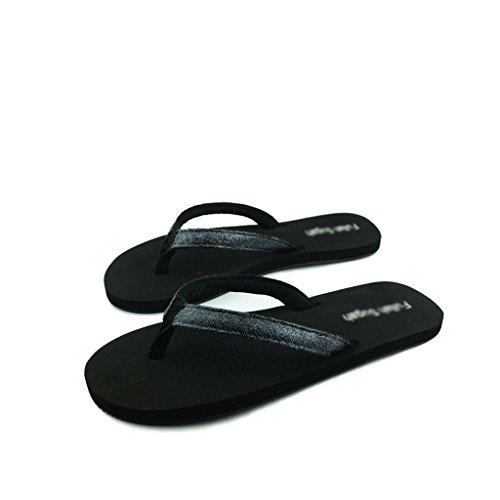 Chaussons Sandales et Pantoufles de Glissement de Mode d'été Femelle Plate Noire de Paillettes