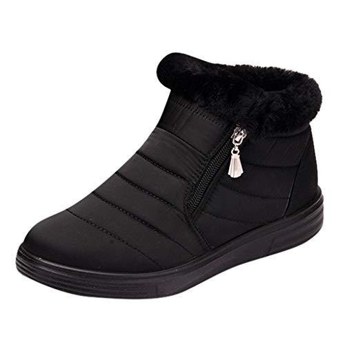 Toamen caldo la neve stivali, da donna inverno caviglia bootie anti scivolo pelliccia foderato caviglia corto stivali impermeabile scivolare su all'aperto scarpe(nero,35)