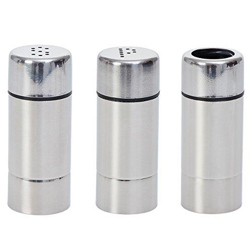 Decor Service Menagen (Salz, Pfeffer, Zahnstocher), Edelstahl, Silber 7,2 x 2,9 cm Silber Salz