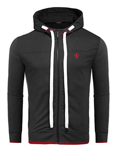 Wixens Herren Kapuzenpullover Kapuzenjacke Stehkragen Reißverschluss Übergangsjack Dünn Sweatshirt Jacke für Männer schwarz XL