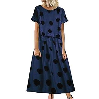 BaZhaHei Women's Vintage Short Sleeve Polka Dot Print Dress Casual Round Neck Plus Size Maxi Dress Navy
