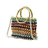 ACMEDE Damentasche Frau Multicolor Stroh Strand Tasche Farbe Perlen Tasche Stroh Tasche Weiblich...