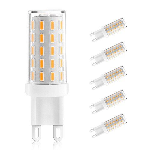 Ascher 5er Pack G9 LED Lampe, Kein Flackern, (3W, Ersetzt 40W Halogen), 400LM, Warmweiß, 54 X 4014 LED SMD,AC 100-240V, G9 LED Leuchtmittel Birne