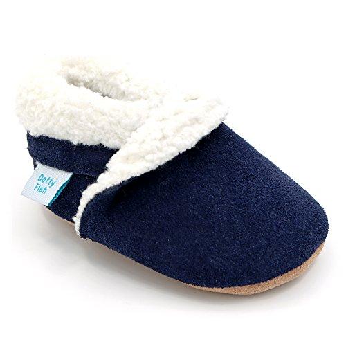 nkind Wildleder Hausschuhe von Dotty Fish - Braun und rosa Pantoffeln für Mädchen und Jungen (12-18 Monate, Marineblau Pantoffel) (Kleinkind-größe 4)