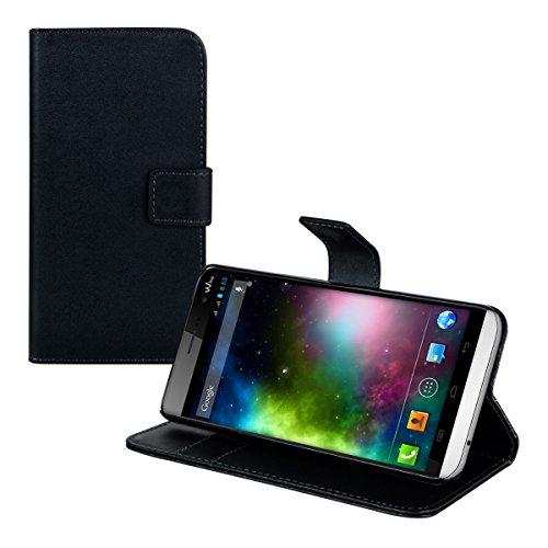 kwmobile Custodia portafoglio per Wiko Getaway - Cover a libro in simil pelle Flip Case con porta carte funzione appoggio nero .nero