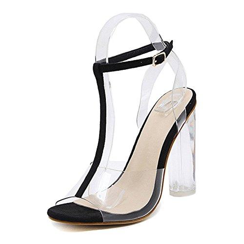 Damen Große Größe Klare Fersen Klobige Ferse Sandalen Frauen Offene Zehe T-Strap Knöchelriemen Römische Schuhe Ausgeschnitten Club Pumps,Black-EU:38/UK:5.5