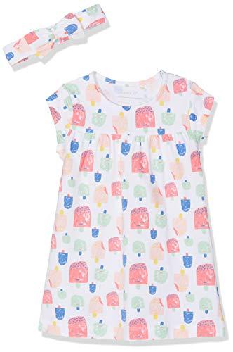 NAME IT Baby-Mädchen Nbfhebine Dress Set Kleid, Mehrfarbig (Bright White), (Herstellergröße: 62) - Baby Kleid Set