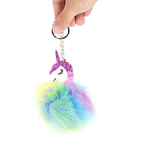 SPECOOL Chicas Arco Iris Unicornio Llavero de Felpa Arco Iris de Piel de Conejo Llavero Bolso de Mano Bolso Colgante Encanto Llavero (2)