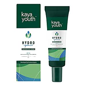 Kaya Youth Hydro Replenish Radiance Day Crème, enriched with pure Aloe Vera gel, SPF 15, Non-sticky and Lightweight, 24 hours Skin Hydration, Developed by Dermatologists, 20 gm