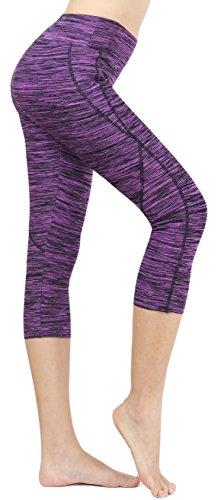 Neonysweets Femme Leggings Coloré Yoga Course Collant Sport Pantacourt Violet