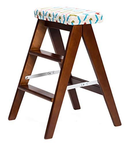 ANHPI Klappleiter Massivholz Multifunktions Kreative Tritthocker Küche Haushalt Mit Kissen, Hohe 59 cm, Mehrere Farben,Brown-#4 (3 Regal Birke Bücherregal)