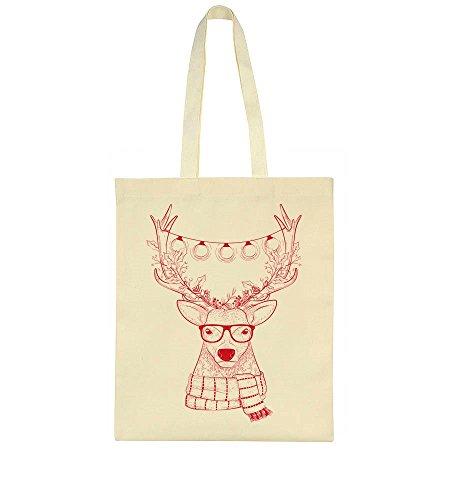 idcommerce Hipster Reindeer With Christmas Light Bulbs On Its Horns Tote Bag (Lights Bulb Christmas)