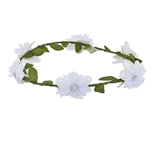 LUX accesorios para niñas blanco flores niña novia Coachella flores corona diadema