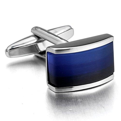 MunkiMix 2 Pièce Plaqué Rhodium Boutons De Manchette Ton d'argent Bleu Chemise Mariage Business 1 Paire Série Homme